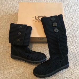 BNIB Ugg Black Classic Cardy Boots
